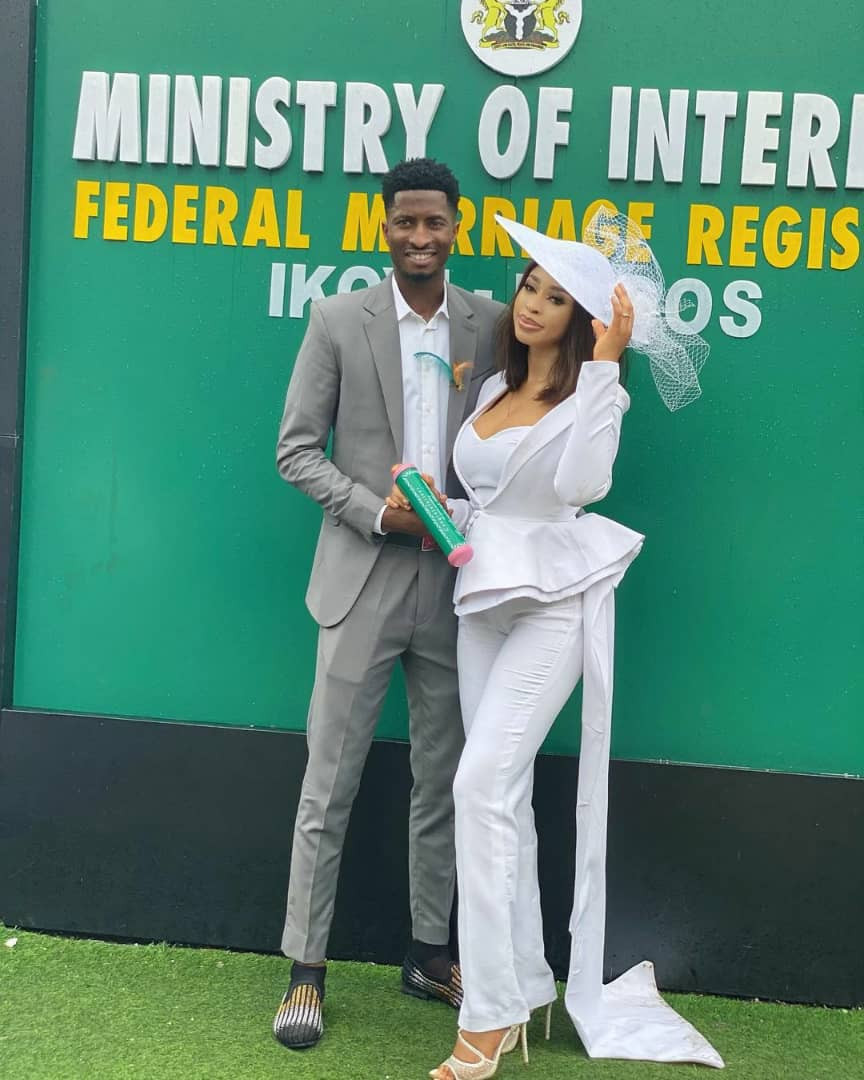 photos from the court wedding of actress yetunde barnabas and footballer olayinka peter